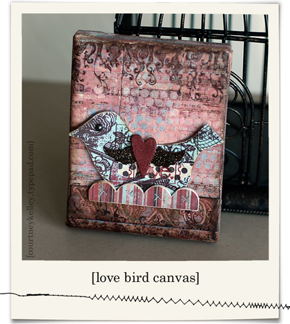 Valentine bird canvas blog02