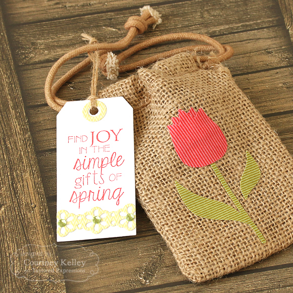 Courtney Kelley - Find Joy Tag & Tulip Burlap Sack