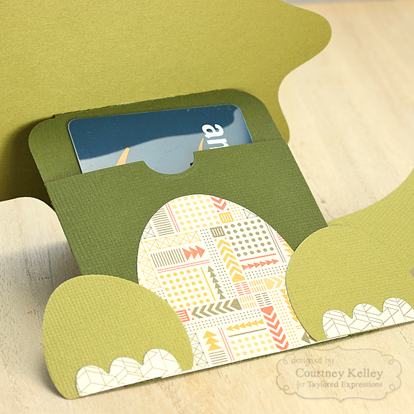 Courtney Kelley - Dinosaur Gift Card Holder open