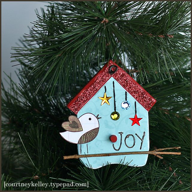 joy birdhouse ornament